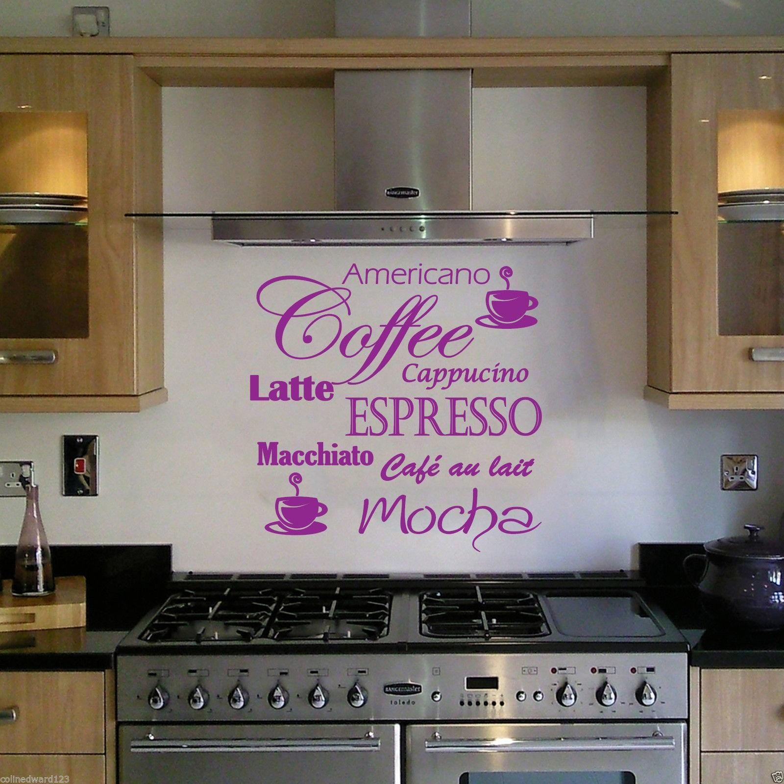Coffee Latte Mocha Wall Art Decal For Kitchen Wall Decoration (View 2 of 20)