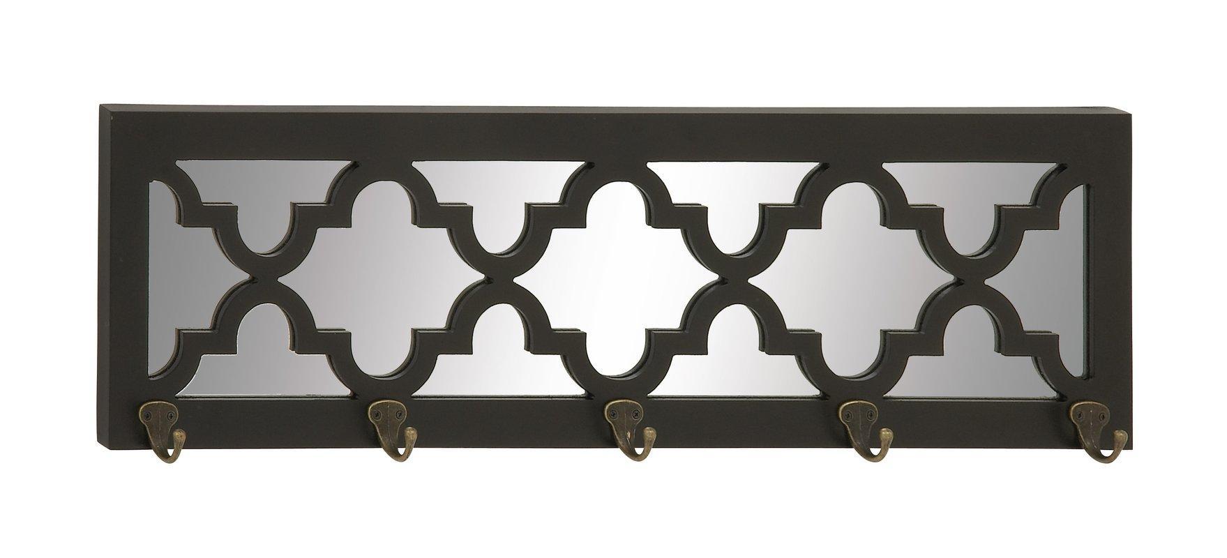 Cole & Grey Wood Mirror Wall Mounted Coat Rack & Reviews | Wayfair Within Kohl's Metal Wall Art (Image 4 of 20)