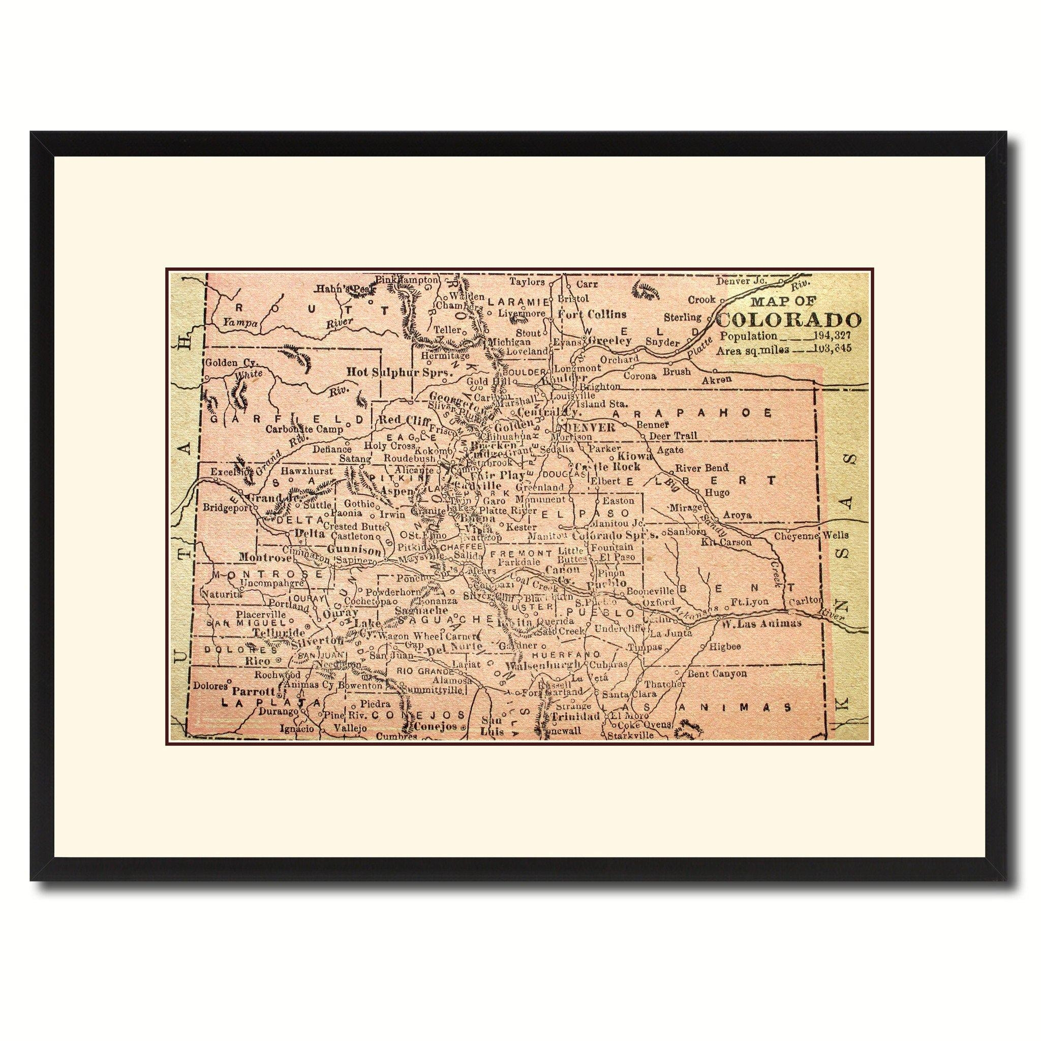 Colorado Vintage Antique Map Wall Art Home Decor Gift Ideas Canvas In Antique Map Wall Art (Image 5 of 20)