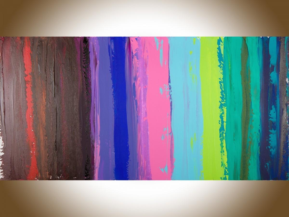 "Colorful Abstract 1Qiqigallery 48""x24"" Original Modern Intended For Colorful Abstract Wall Art (View 3 of 20)"