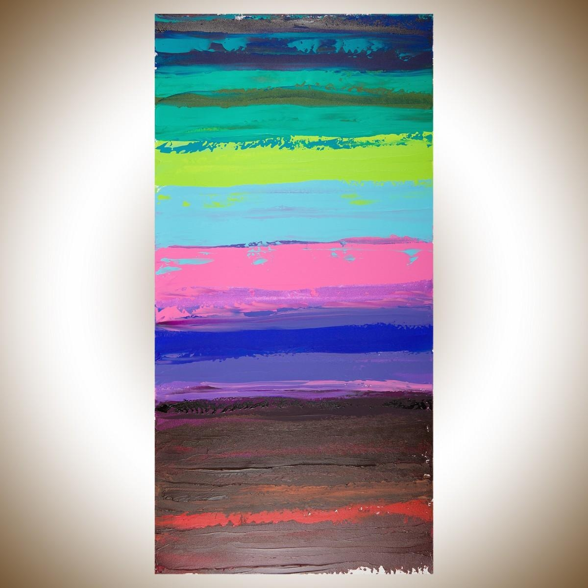 """Colorful Abstract 1Qiqigallery 48""""x24"""" Original Modern Within Red And Turquoise Wall Art (Image 12 of 20)"""