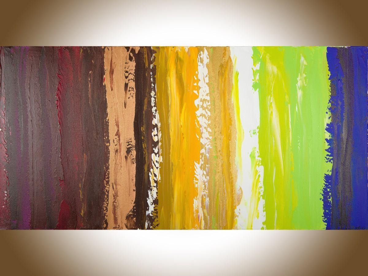"Colorful Abstract 2Qiqigallery 48""x24"" Original Modern Intended For Colorful Abstract Wall Art (View 15 of 20)"