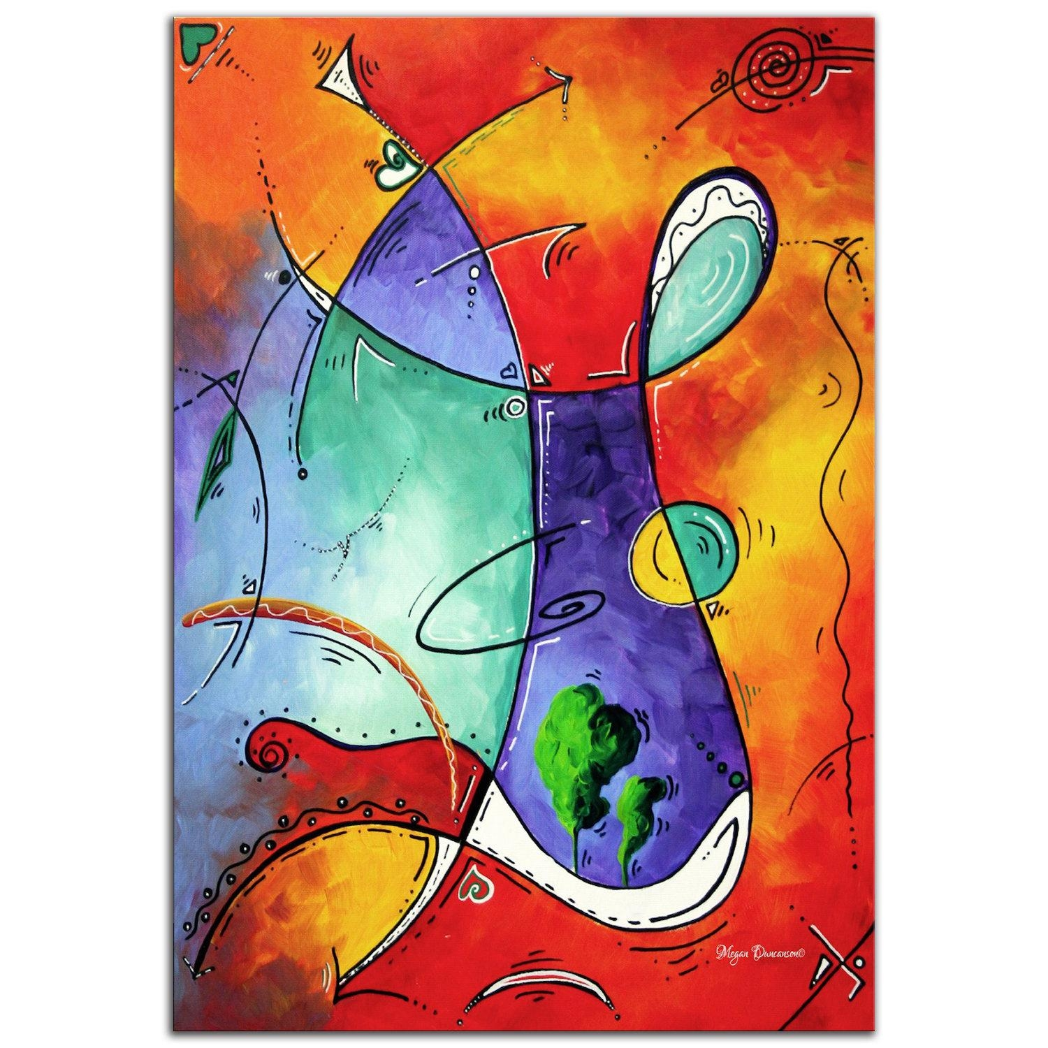 Colorful Abstract Painting 'free At Last' Modern Wall Throughout Funky Metal Wall Art (Image 11 of 20)
