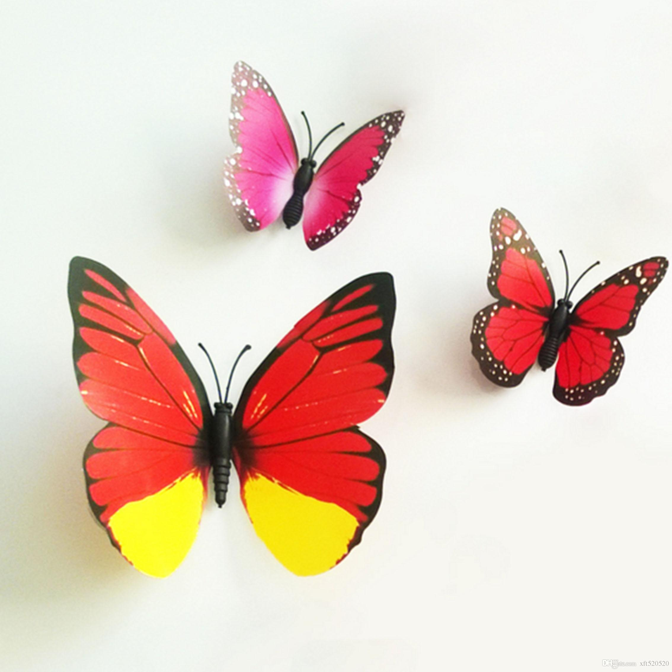 Colorful Design Art 3D Butterfly Wall Stickers Wall Decor Plastic With Butterflies 3D Wall Art (Image 9 of 20)
