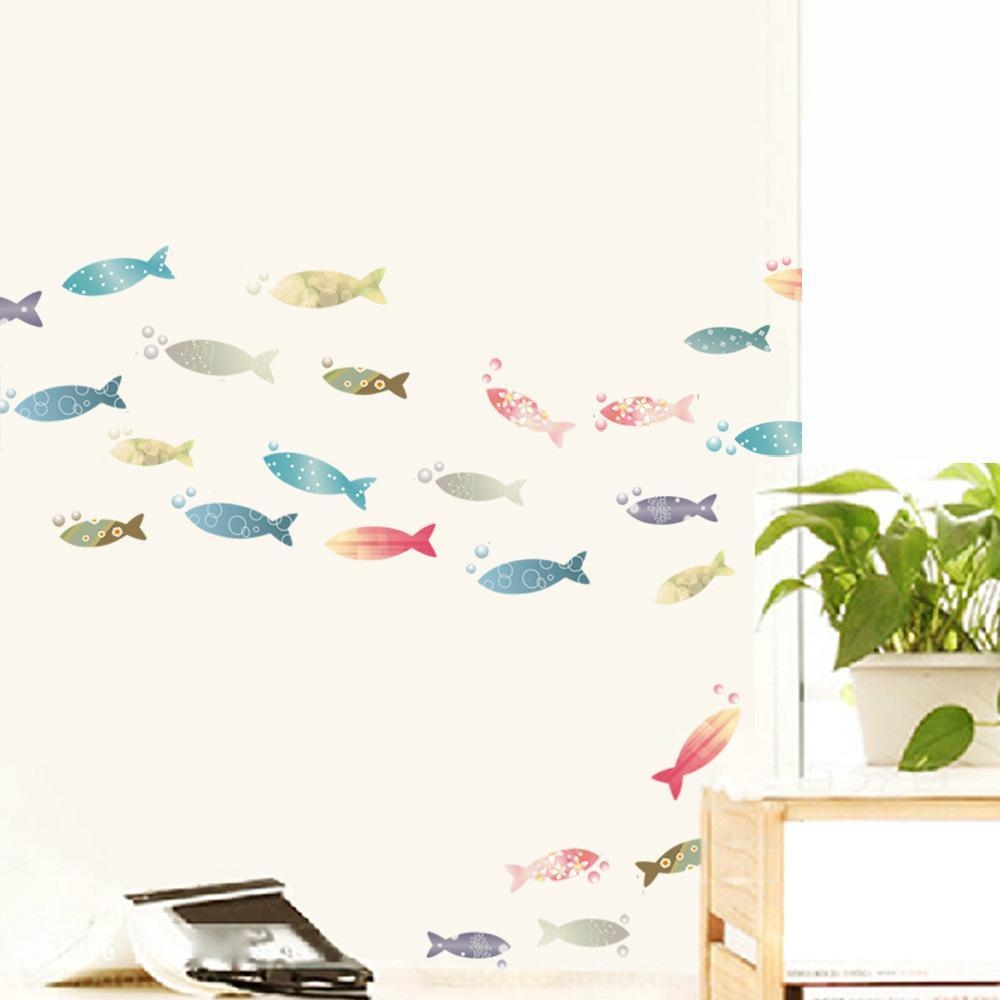 20 best collection of fish decals for bathroom wall art for Colorful kitchen wall art