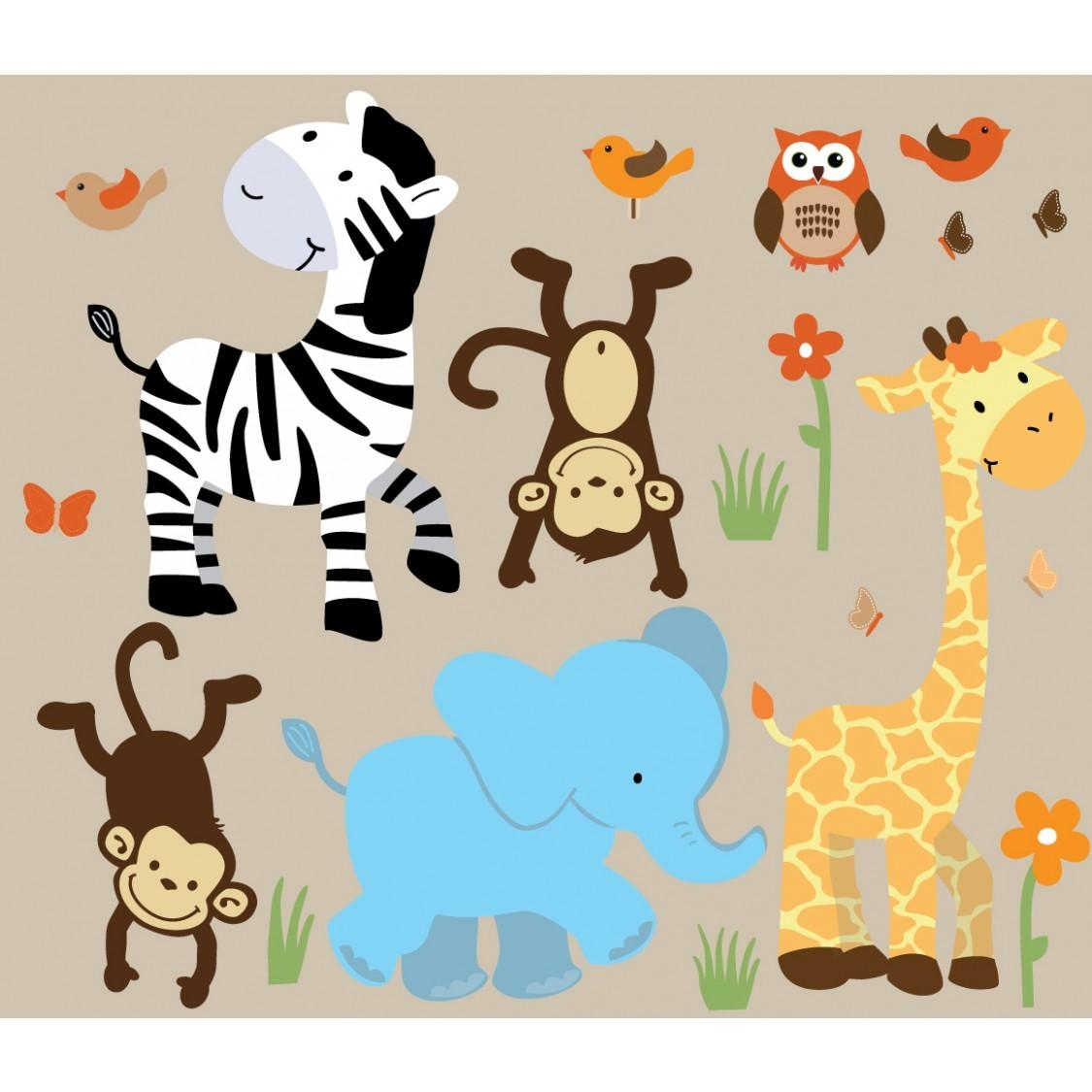 Colorful Jungle Wall Decals For Nursery With Zebra Wall Murals For Inside Animal Wall Art (Image 9 of 20)