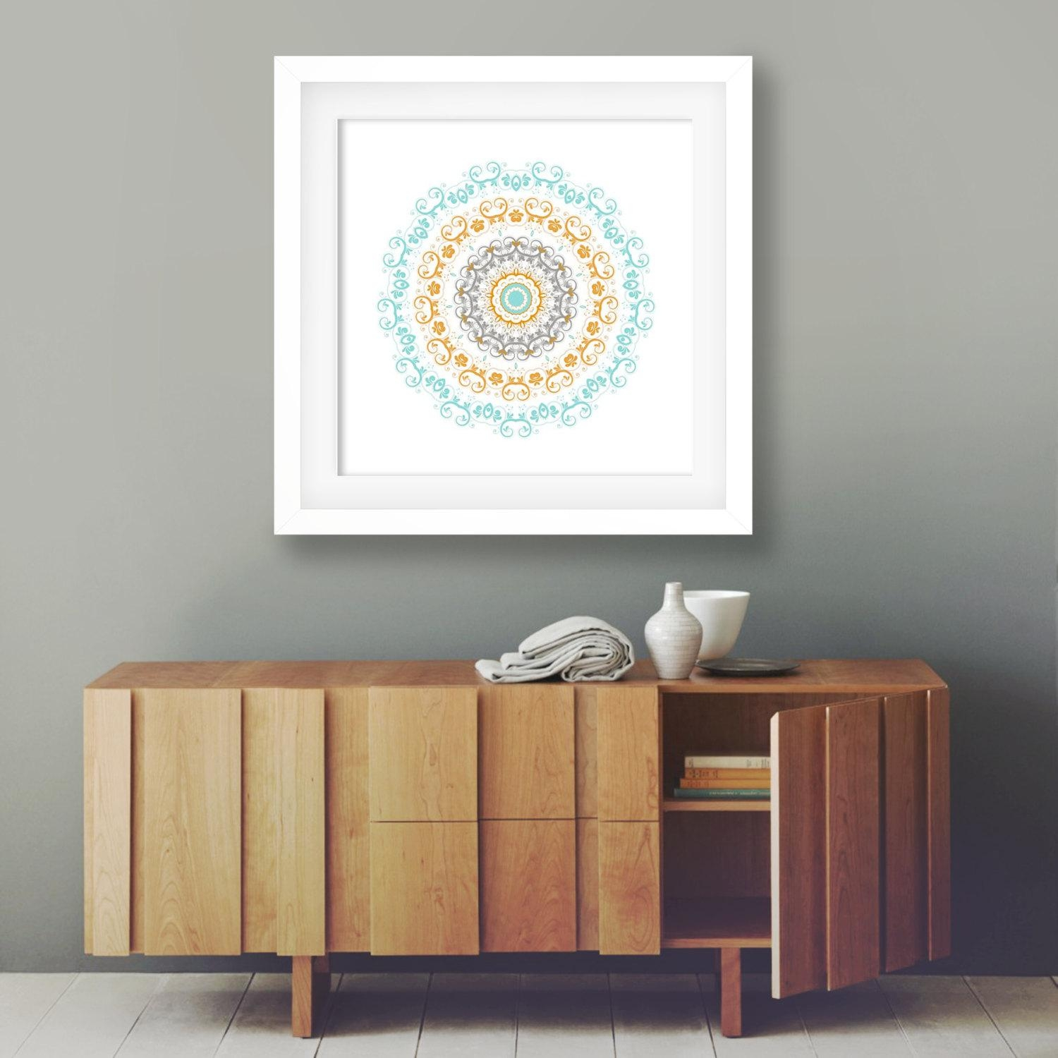 Colorful Poster Bohemian Decor Boho Artwork White Orange And Intended For Orange And Turquoise Wall Art (View 19 of 20)