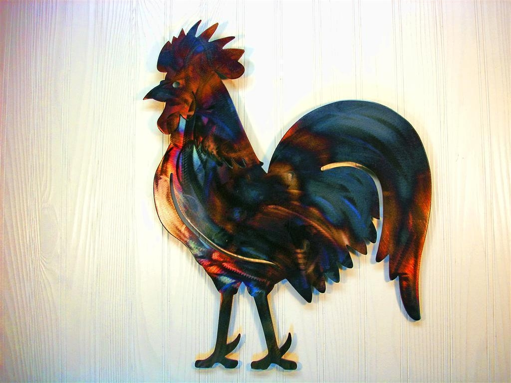 Colorful Rooster Metal Wall Art, New Home Decor, Nature Sculpture Inside Metal Rooster Wall Decor (View 9 of 20)