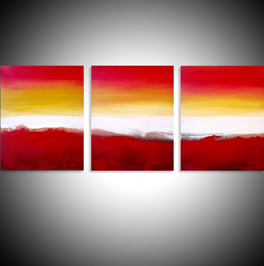 "Colour Slats"" Abstract Artists Triptych Art On Canvas Within Triptych Art For Sale (View 11 of 20)"