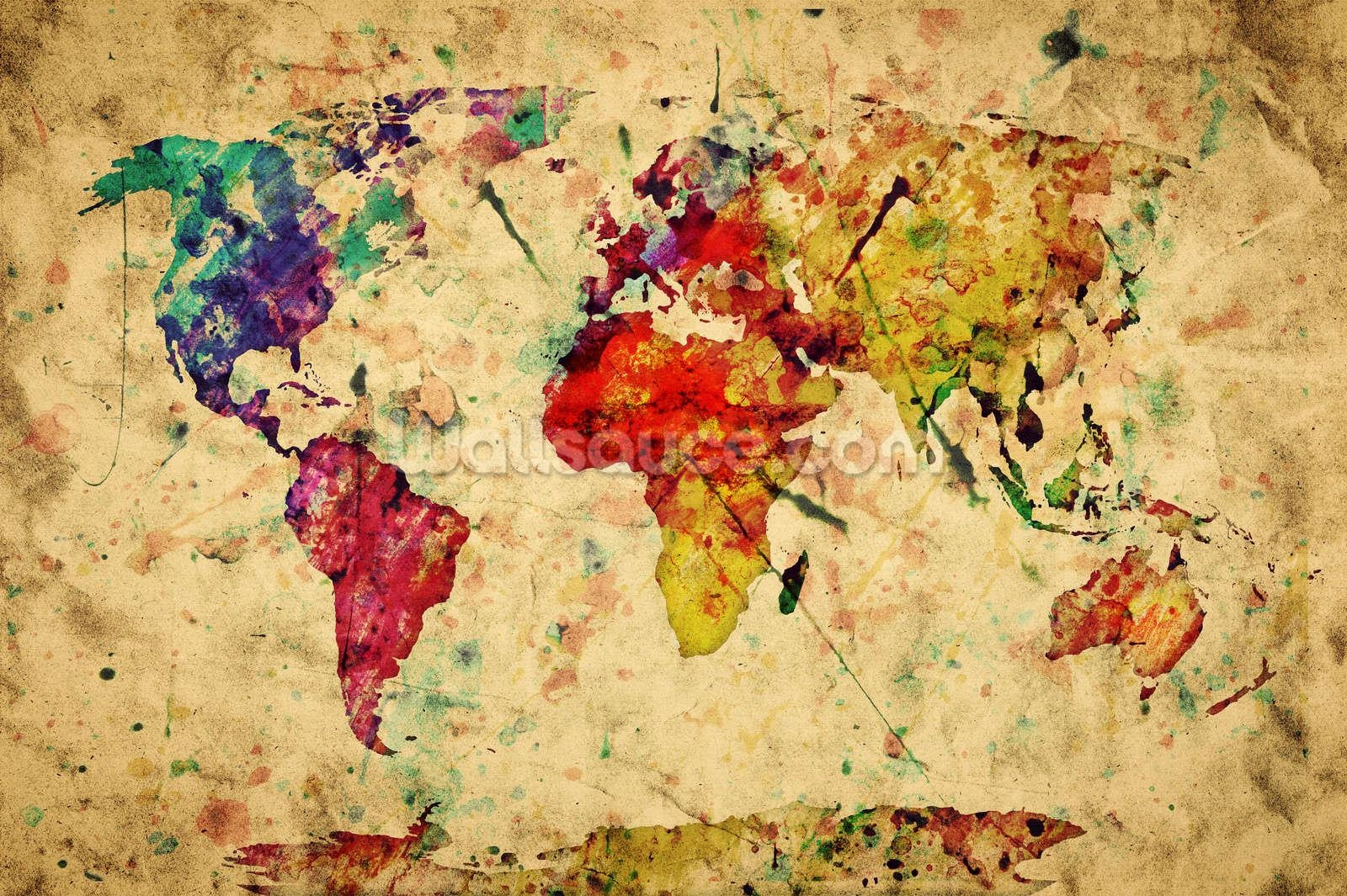 Colourful Vintage Map Wallpaper Wall Mural | Wallsauce Usa In Antique Map Wall Art (View 15 of 20)