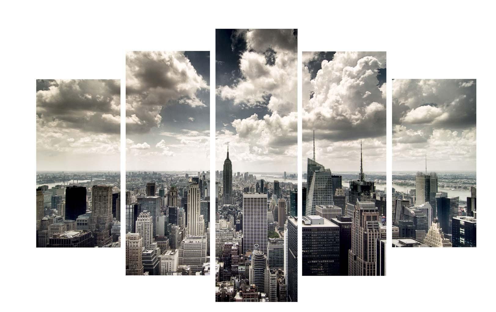Compact New York Skyline Wall Art Stickers New York Skyline Canvas Pertaining To New York Skyline Canvas Black And White Wall Art (Image 5 of 20)