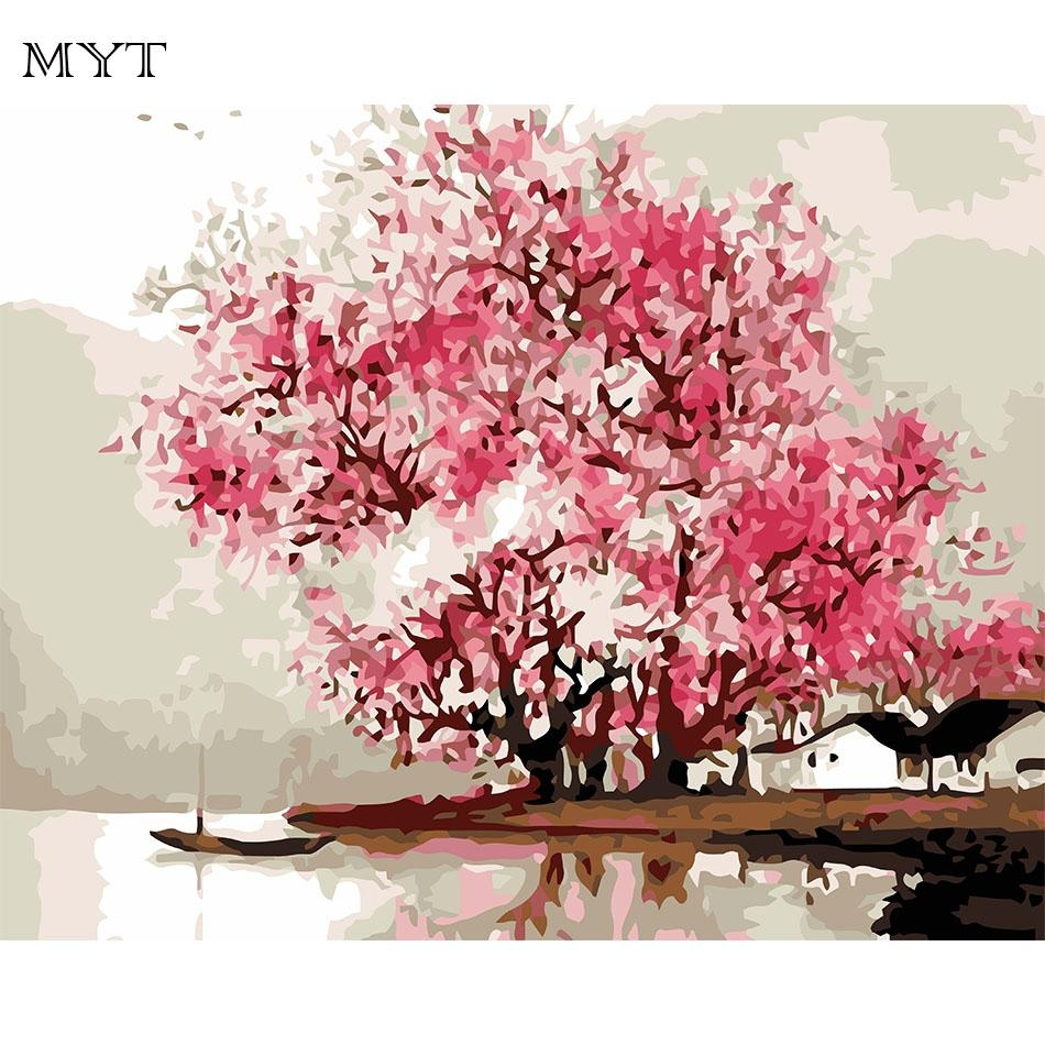 Compare Prices On Cherry Blossom Painting Online Shopping/buy Low Throughout Red Cherry Blossom Wall Art (View 13 of 20)