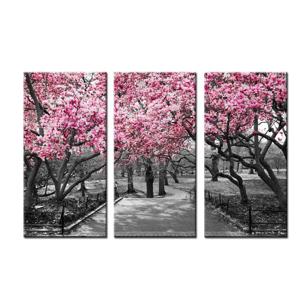 Compare Prices On Cherry Blossom Tree Paintings Online Shopping Regarding Red Cherry Blossom Wall Art (View 17 of 20)