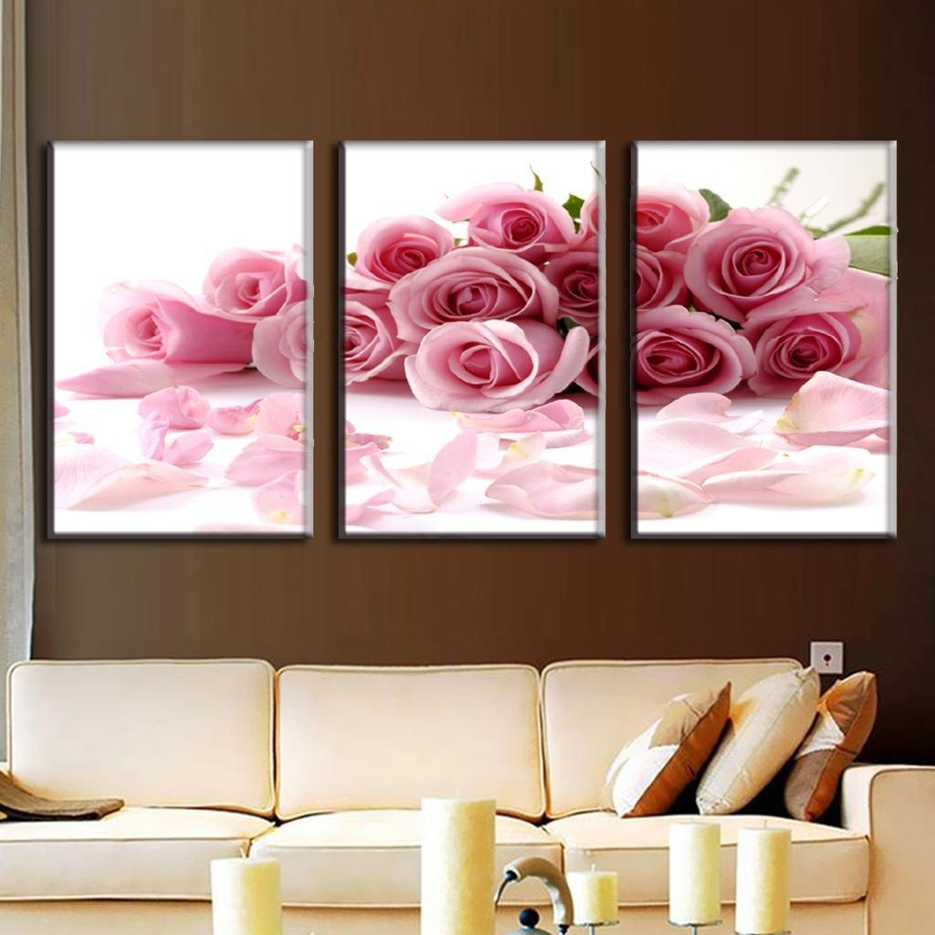 Cabbage Rose Flower Print Purple Abstract Art Kitchen Wall: 20 Best Collection Of Flower Wall Art Canvas