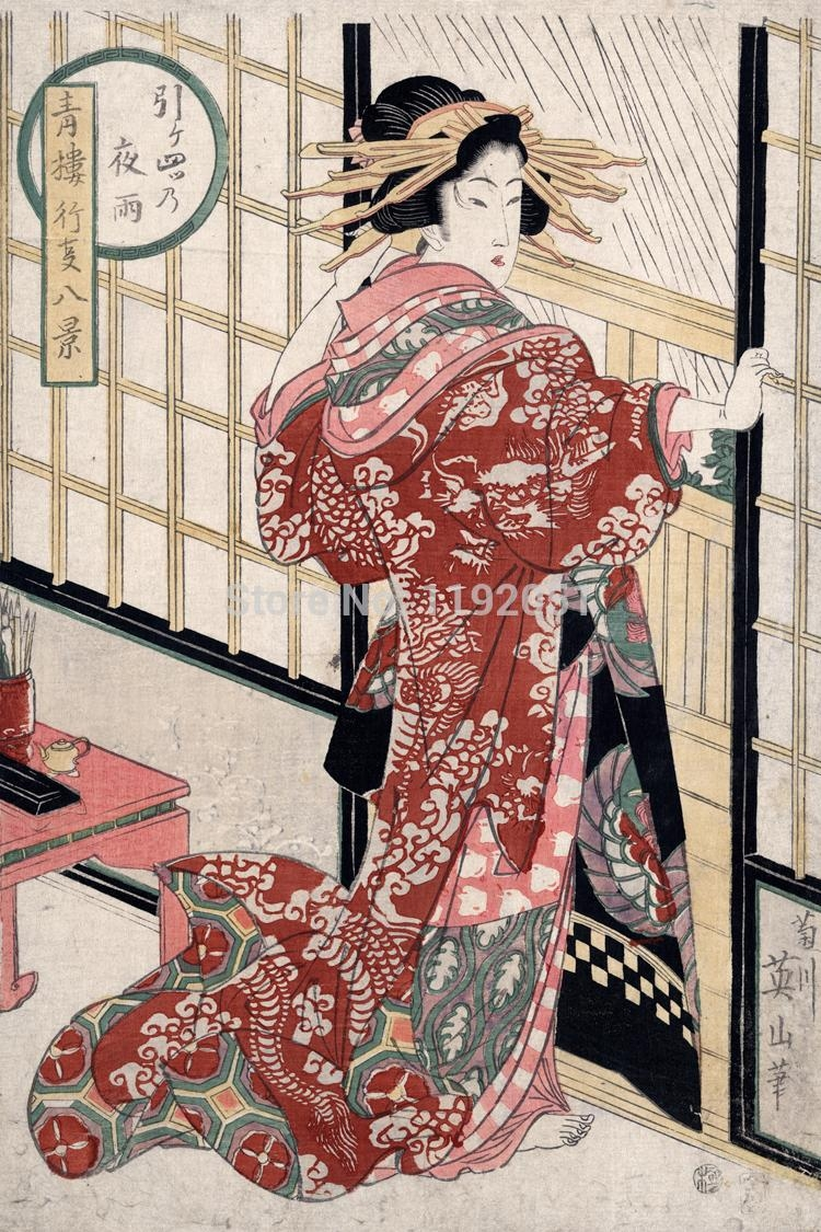 Compare Prices On Japanese Geisha Art  Online Shopping/buy Low In Geisha Canvas Wall Art (Image 7 of 20)