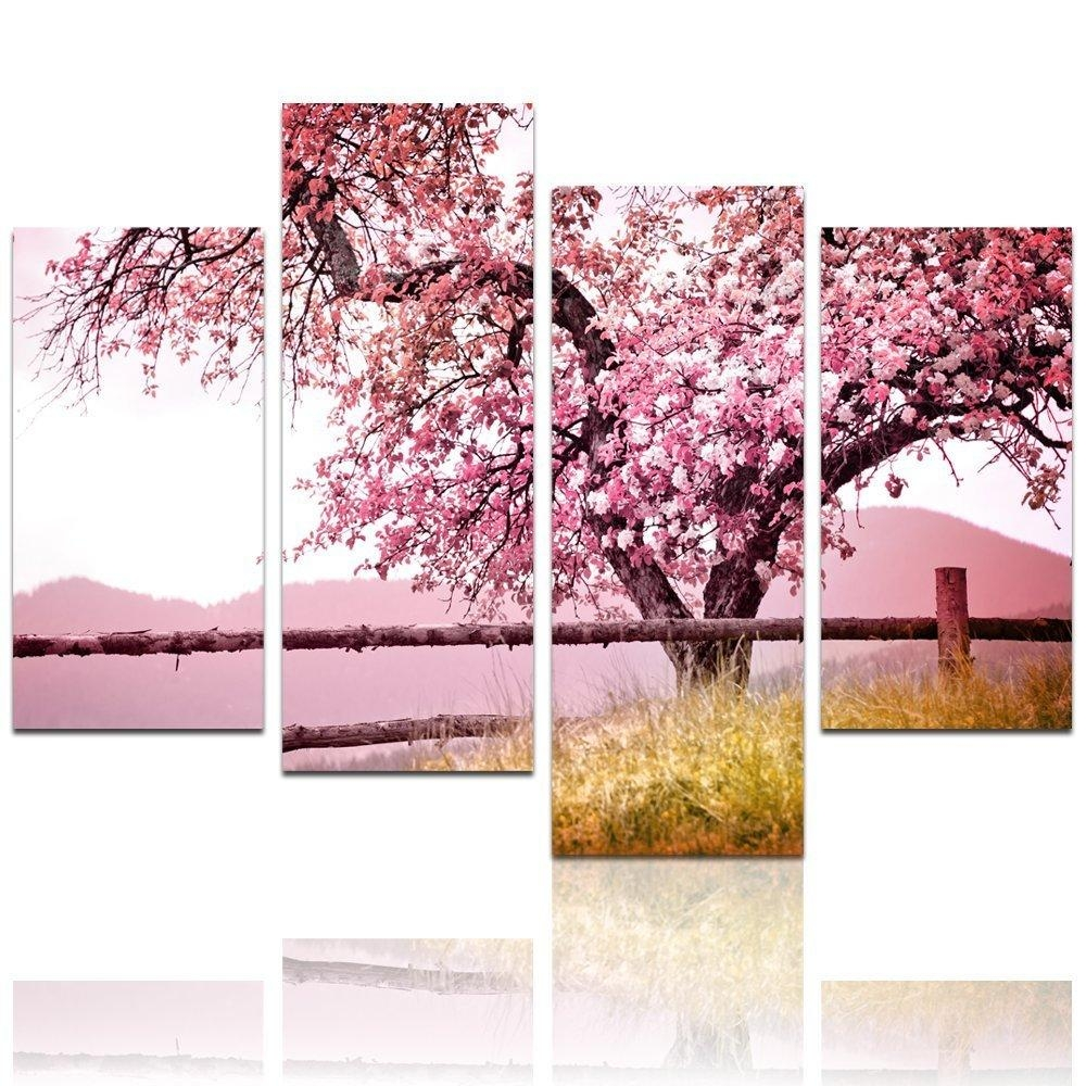 2018 Latest Red Cherry Blossom Wall Art | Wall Art Ideas