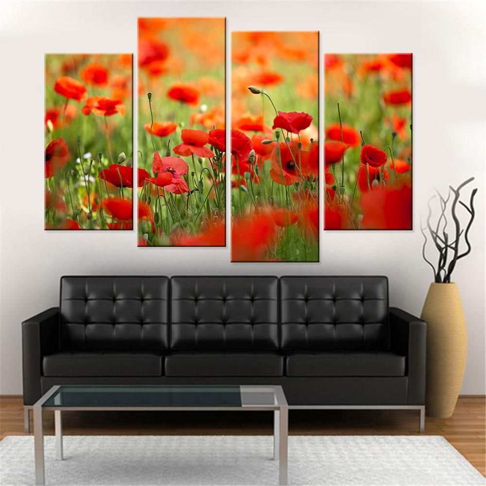 Compare Prices On Poppy Wall Art  Online Shopping/buy Low Price Throughout Modular Wall Art (Image 4 of 20)