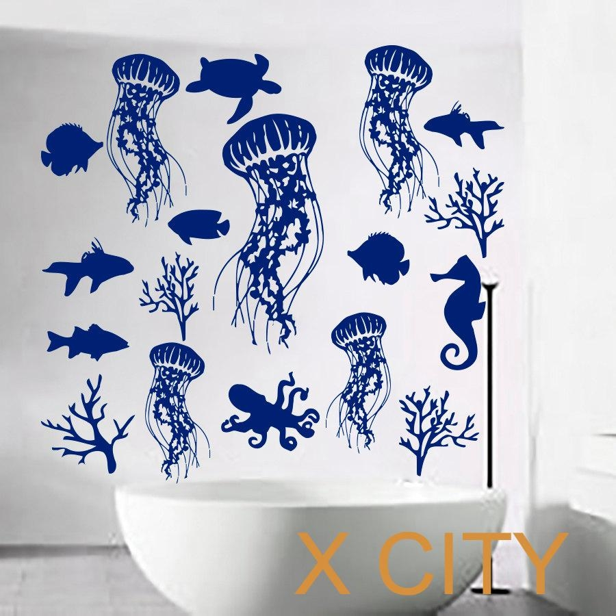 Compare Prices On Vinyl Wall Decals Bathroom Online Shopping/buy In Fish Decals For Bathroom (View 4 of 20)