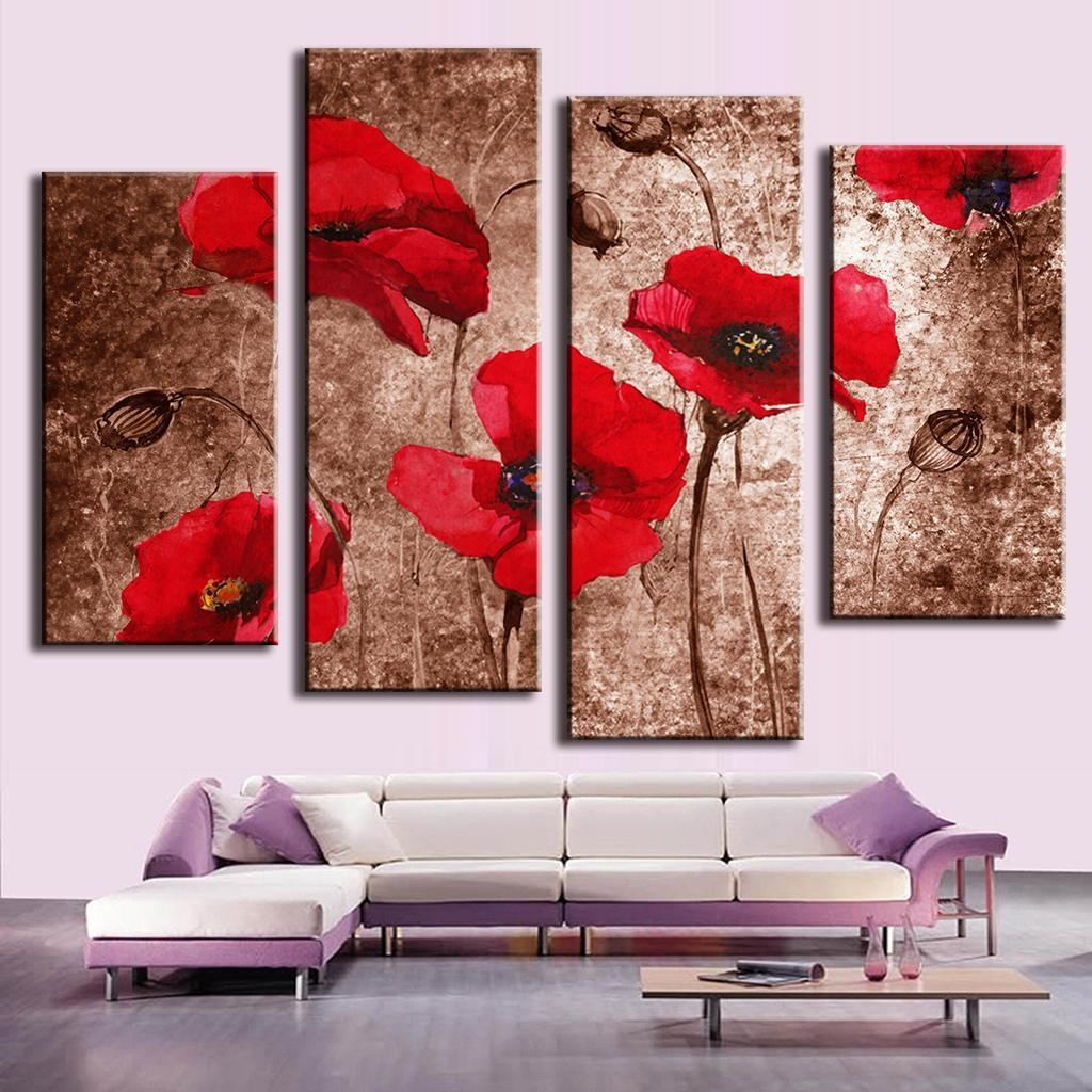 Compare Prices On Wall Art Red  Online Shopping/buy Low Price Wall Throughout Red Poppy Canvas Wall Art (Image 8 of 20)