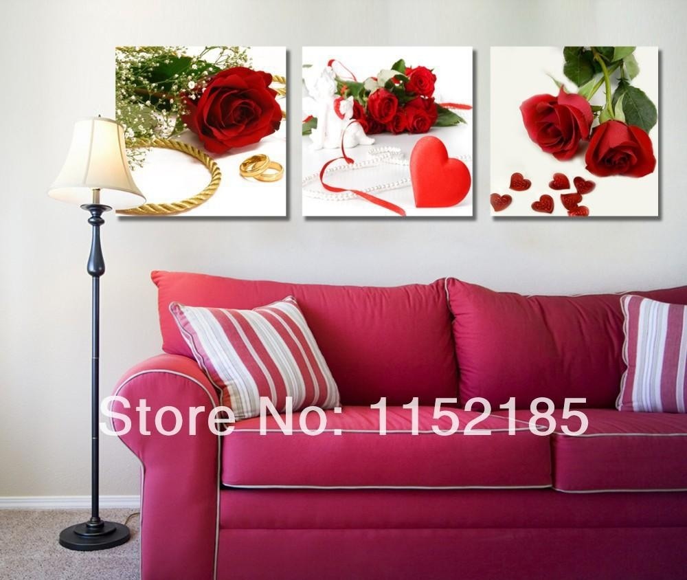 Compare Prices On Wall Art Roses Online Shopping/buy Low Price Inside Red Rose Wall Art (View 6 of 20)