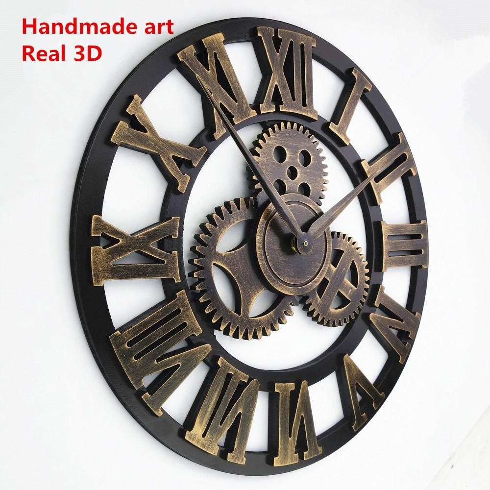 Compare Prices On Wall Clock Vintage  Online Shopping/buy Low Pertaining To Large Vintage Wall Art (Image 7 of 20)