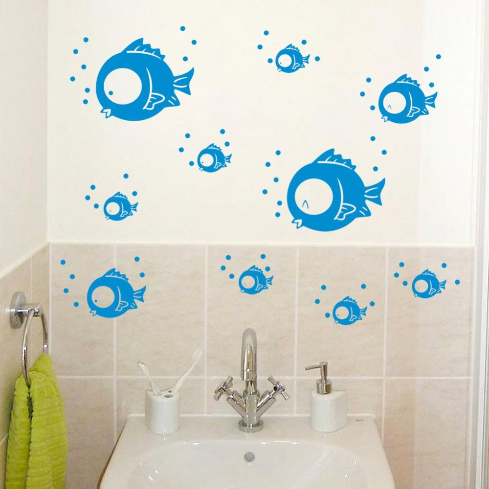 Compare Prices On Wall Stickers Fish Online Shopping/buy Low In Fish Decals For Bathroom (View 12 of 20)