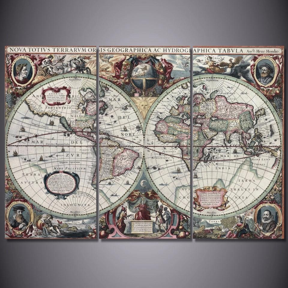 Compare Prices On World Map Framed  Online Shopping/buy Low Price With Regard To Framed World Map Wall Art (Image 3 of 20)