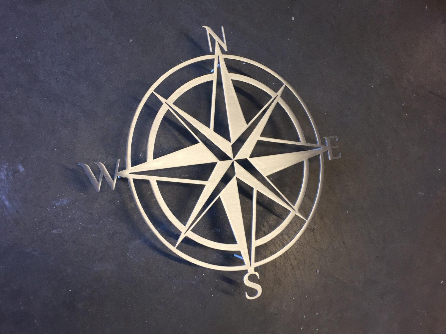 Compass Metal Wall Art Abstract Wall Decor Compass Metal Within Large Metal Art (Image 1 of 20)