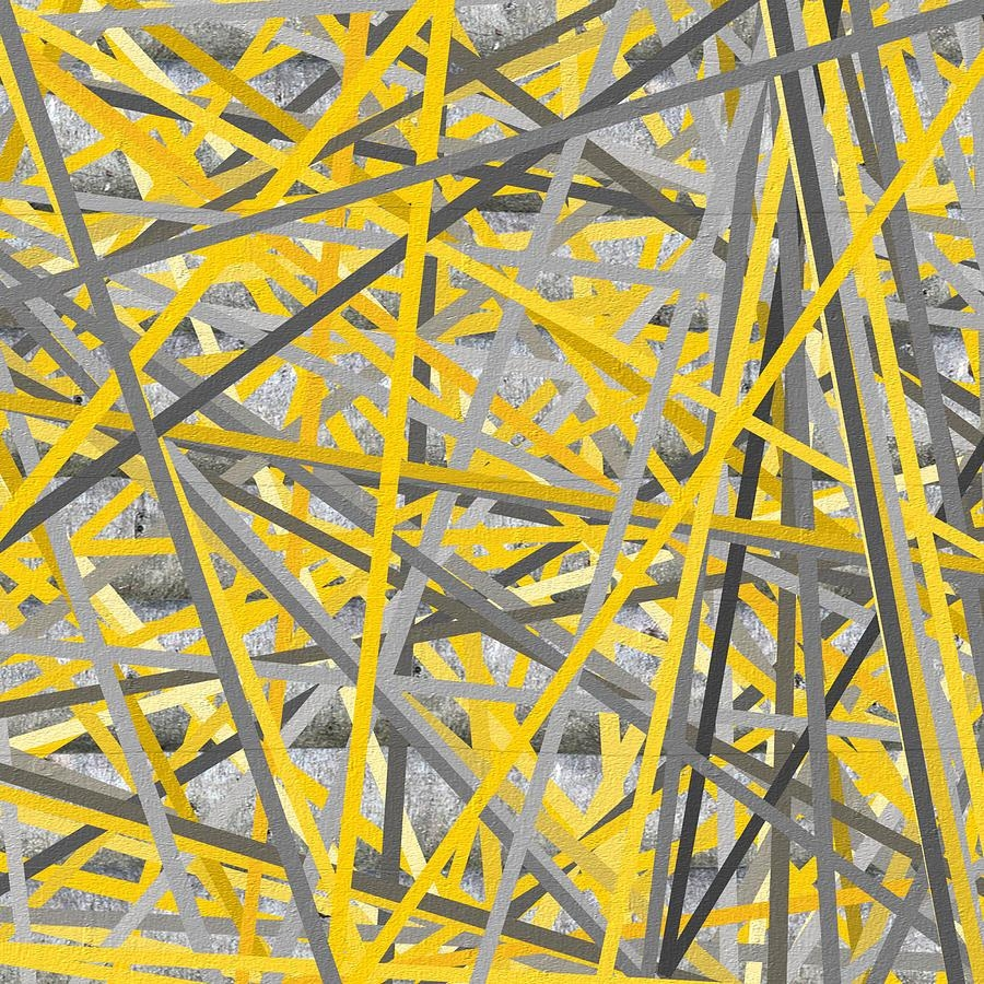 Connection - Yellow And Gray Wall Art Paintinglourry Legarde with Yellow And Grey Wall Art