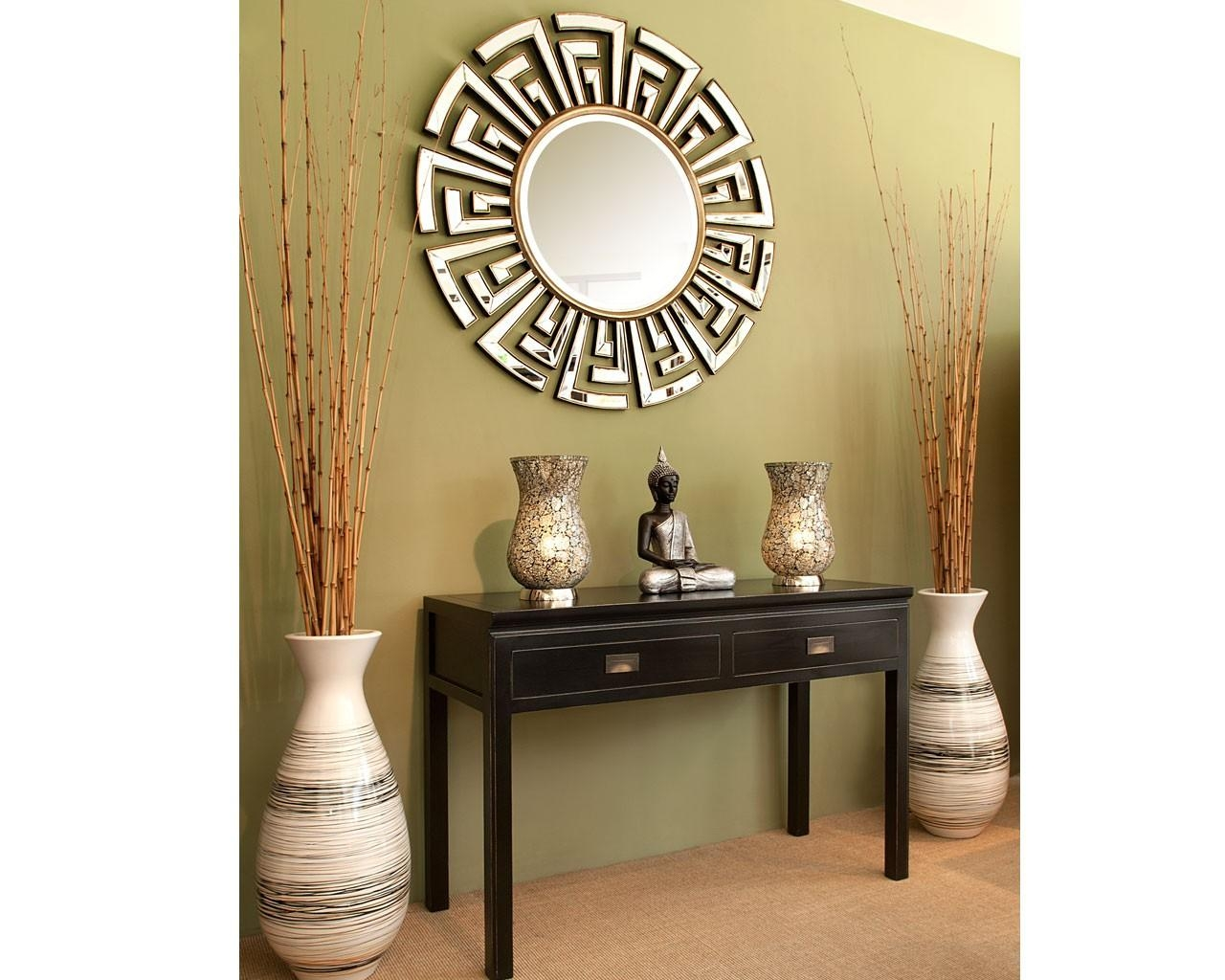 Contemporary Art Deco Round Mirror | Statement Circular Mirrors With Regard To Wall Art Mirrors Contemporary (Image 4 of 20)