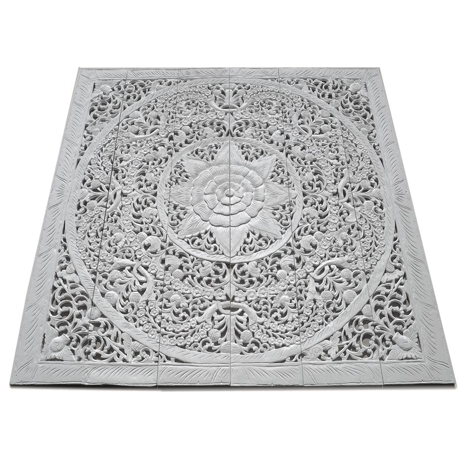 Contemporary Carved Wood Wall Art Bed Panel – Siam Sawadee Intended For White Wooden Wall Art (Image 9 of 20)