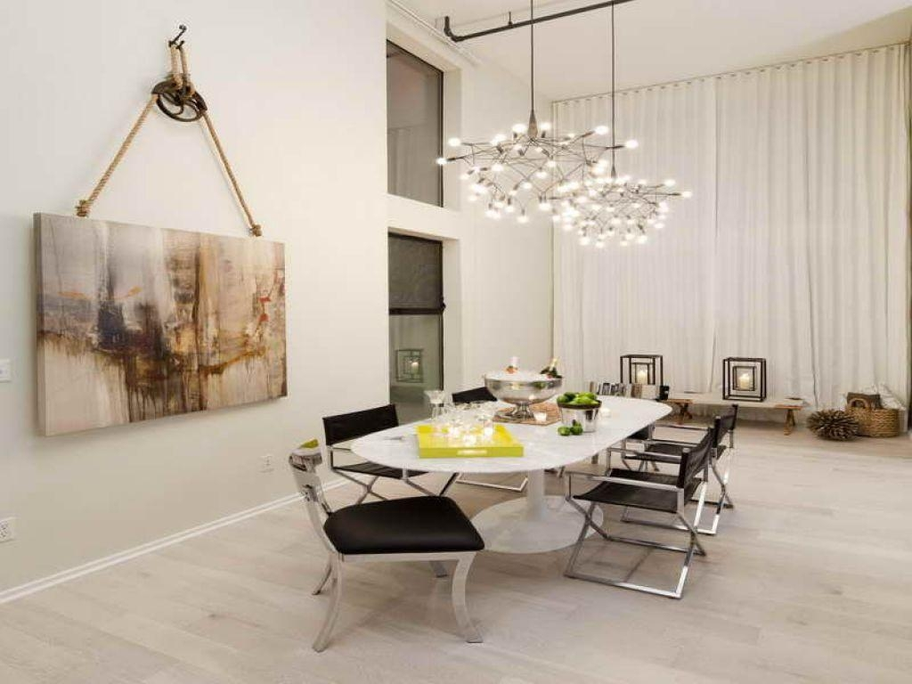 Contemporary Dining Room With Hanging Painting Wall Art Intended For Dining Area Wall Art (View 12 of 20)