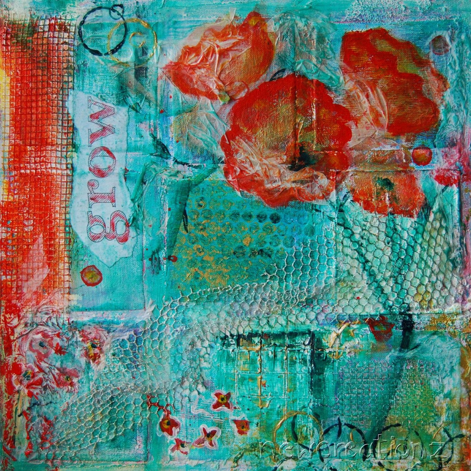 Contemporary Fine Art Mixed Media Painting Print Flower Word Regarding Orange And Turquoise Wall Art (View 2 of 20)