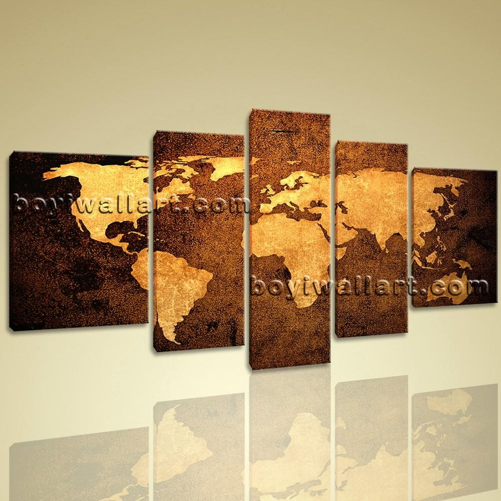 Contemporary Home Decor Abstract Wall Art Atlas Print Canvas World Map Intended For Atlas Wall Art (View 2 of 20)