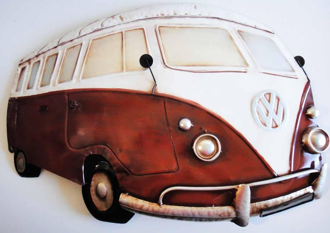 Contemporary Metal Wall Art Sculpture – Large Campervan Red Cream In Campervan Metal Wall Art (Image 3 of 20)