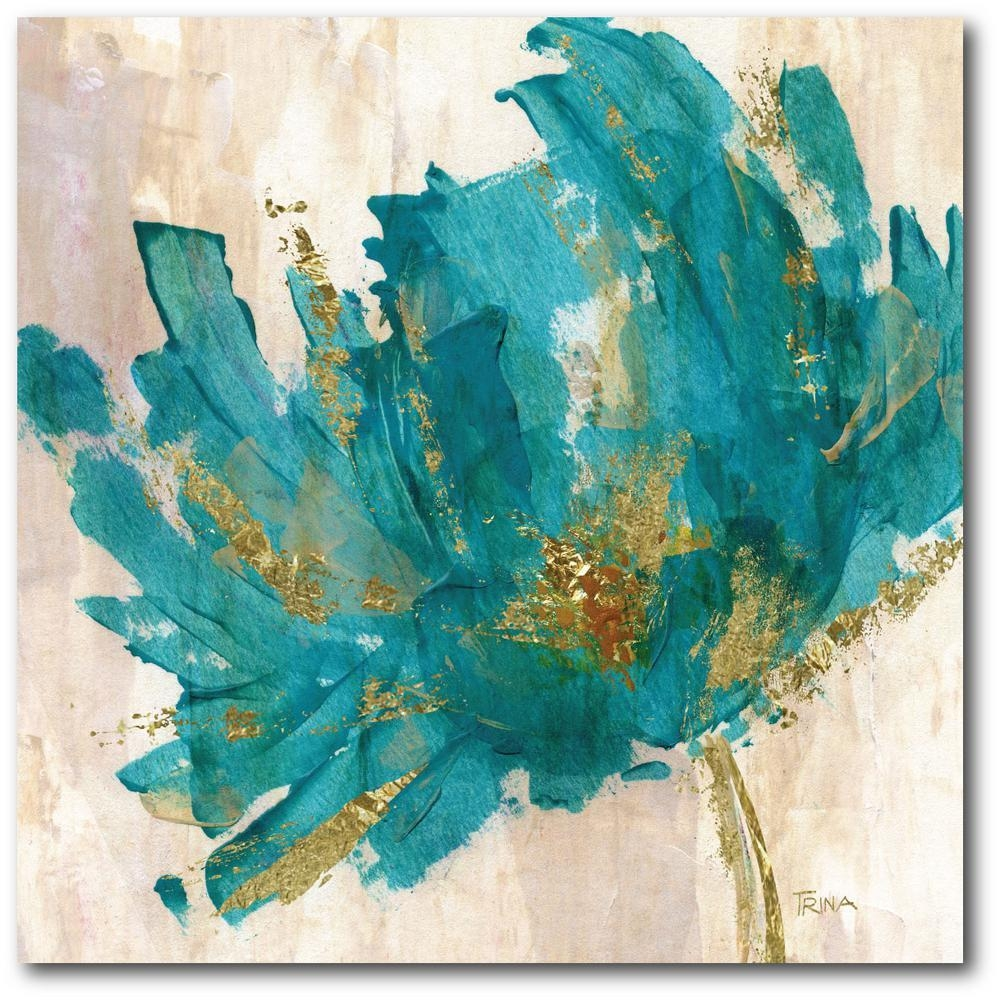 Contemporary Teal Flower Canvas Wall Art Web Ac180T – The Home Depot Inside Teal Flower Canvas Wall Art (View 6 of 20)