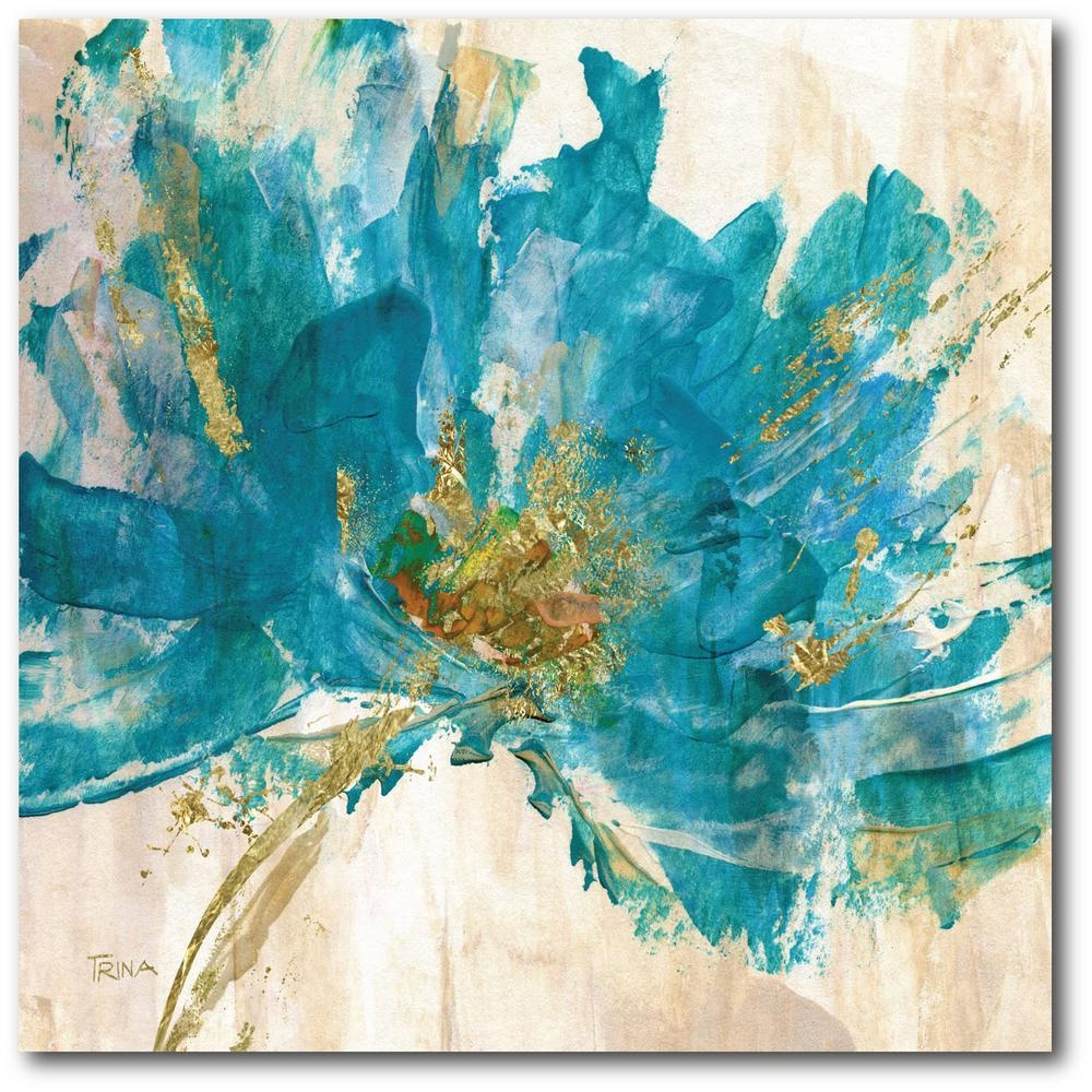 Contemporary Teal Flower Canvas Wall Art Web Ac181T – The Home Depot With Teal Flower Canvas Wall Art (View 9 of 20)