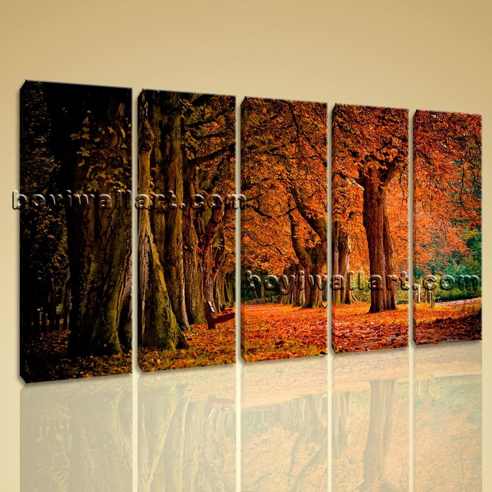 Contemporary Wall Art Autumn Fall Hd Picture Print On Canvas Home Intended For Canvas Landscape Wall Art (Image 9 of 20)