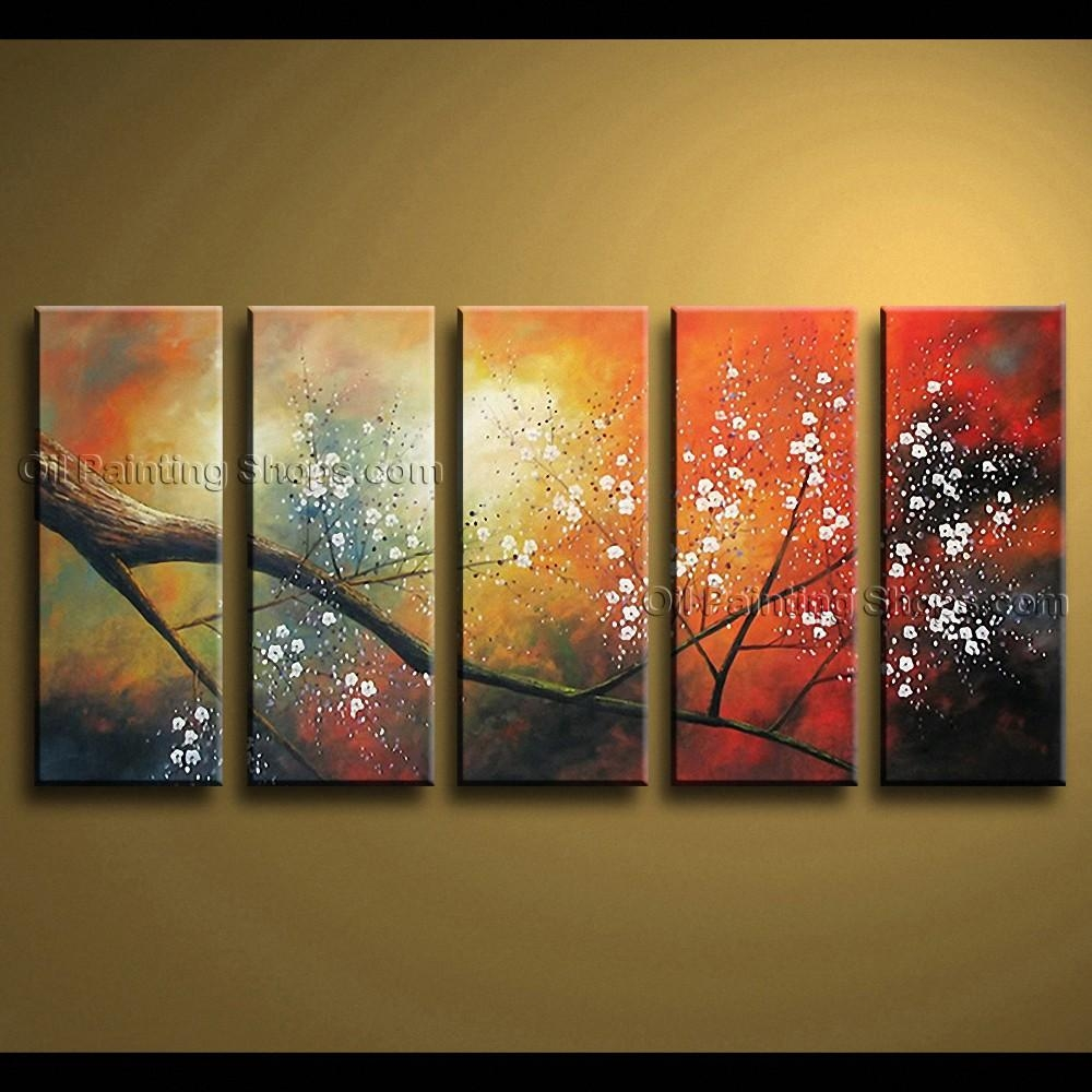 Contemporary Wall Art Floral Painting Cherry Blossom Oil On Canvas With Large Contemporary Wall Art (View 6 of 20)