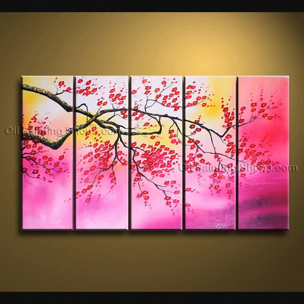 Contemporary Wall Art Floral Painting Cherry Blossom Scenery For Large Modern Wall Art (View 19 of 20)