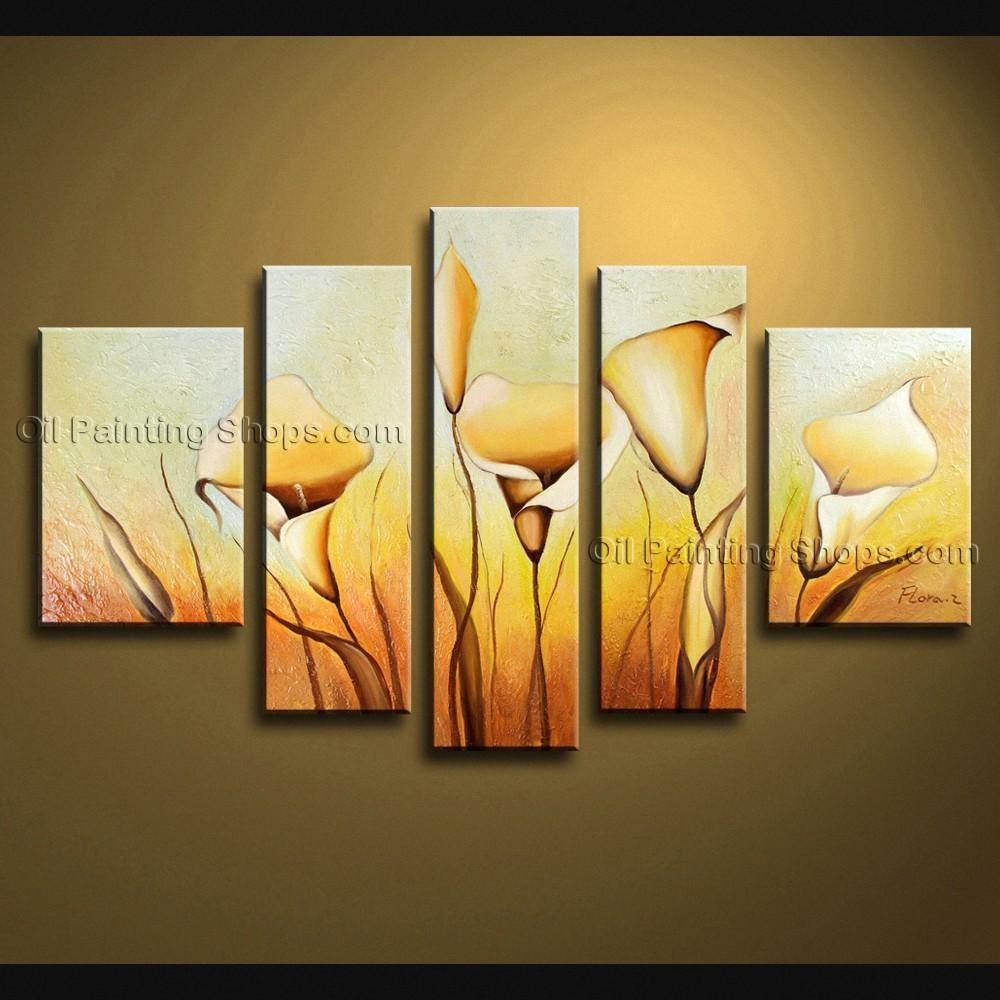 Contemporary Wall Art Floral Painting Lily Flower Oil Canvas Intended For Contemporary Wall Art (Image 4 of 20)