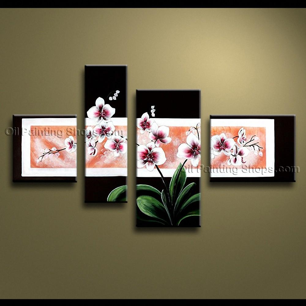 Contemporary Wall Art Floral Painting Orchid Flowers Artwork Throughout Large Modern Wall Art (View 17 of 20)