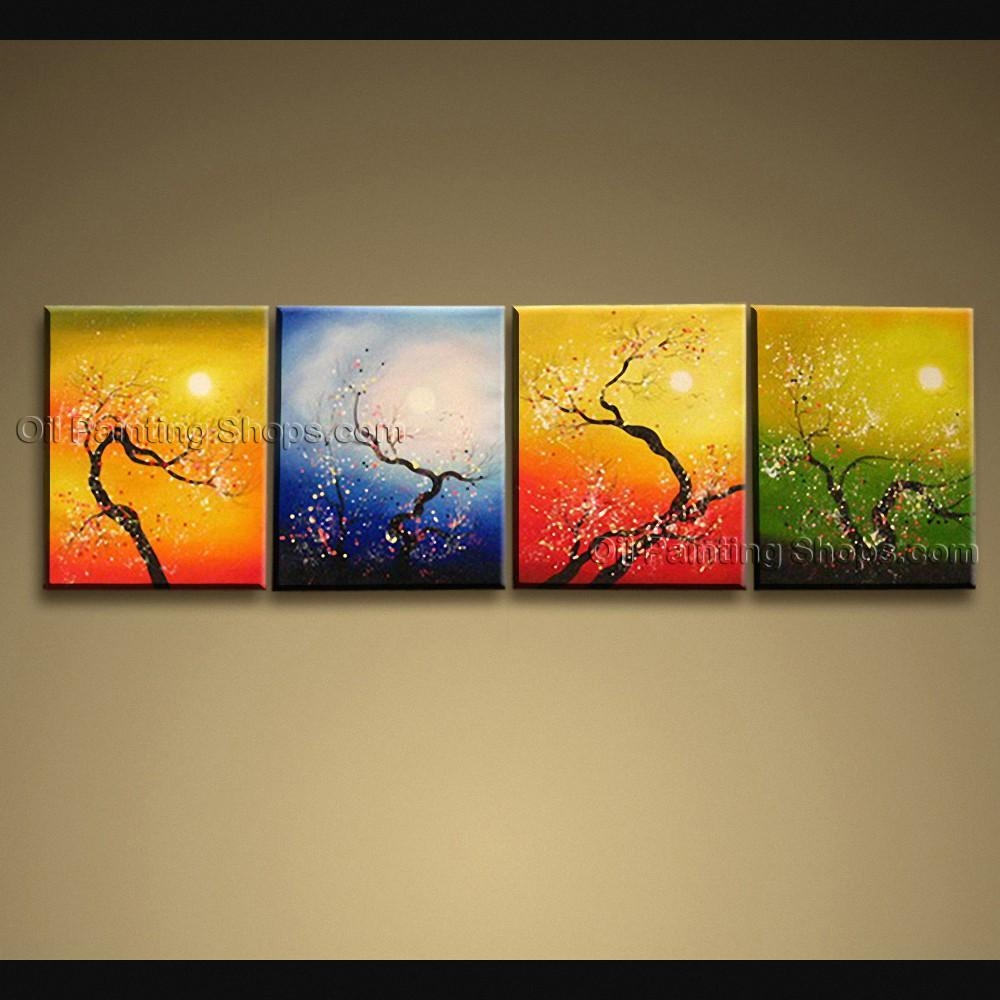 Contemporary Wall Art Floral Painting Plum Blossom Inner Framed With Contemporary Wall Art (Image 5 of 20)