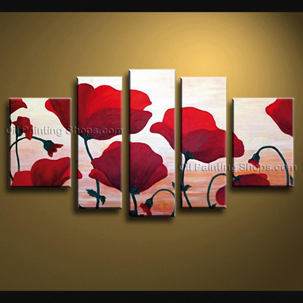 Contemporary Wall Art Floral Painting Poppy Decoration Ideas Within Large Modern Wall Art (View 13 of 20)