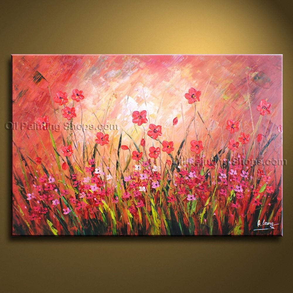 Contemporary Wall Art Floral Painting Poppy Flower Oil Canvas In Floral Wall Art Canvas (View 13 of 20)