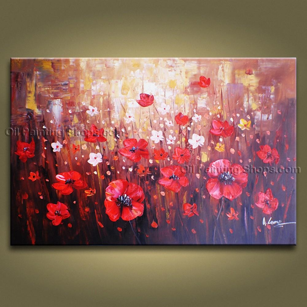 Contemporary Wall Art Floral Painting Poppy Flower Oil Canvas Pertaining To Floral Wall Art Canvas (Image 5 of 20)