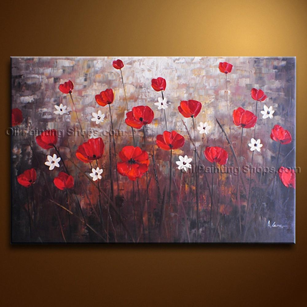 Contemporary Wall Art Floral Painting Poppy Flower On Canvas With Floral Wall Art Canvas (Image 6 of 20)