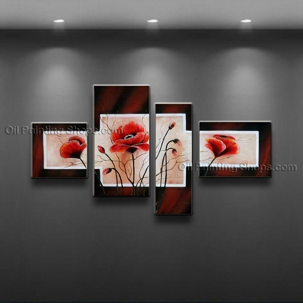 Contemporary Wall Art Floral Painting Poppy Flower Paintings In Contemporary Wall Art (Image 6 of 20)