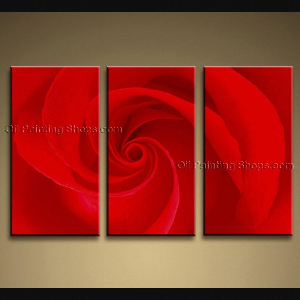 Contemporary Wall Art Floral Painting Rose Decoration Ideas Throughout Red Rose Wall Art (View 15 of 20)