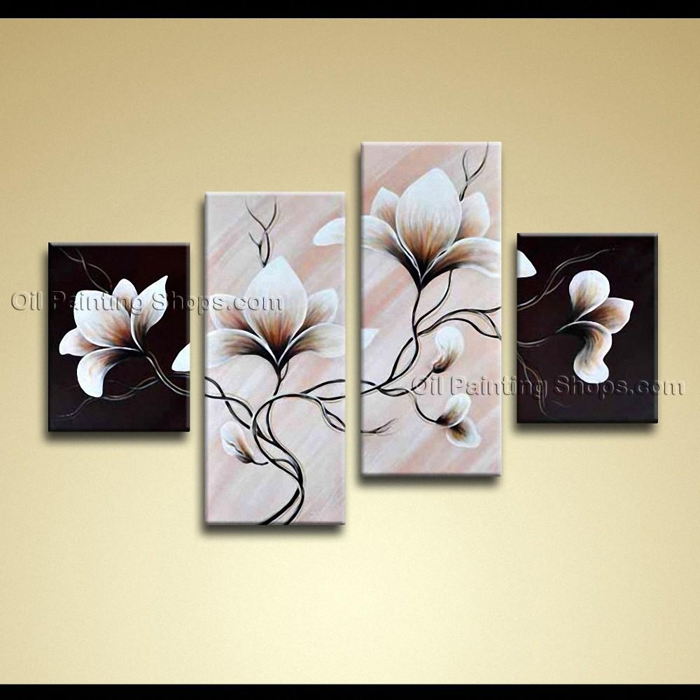 Contemporary Wall Art Floral Painting Tulip Flower On Canvas Regarding Floral Wall Art Canvas (Image 7 of 20)